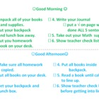 Morning and Afternoon Checklist