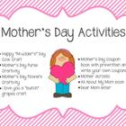 Mother's Day Activities-crafts, writing crafts