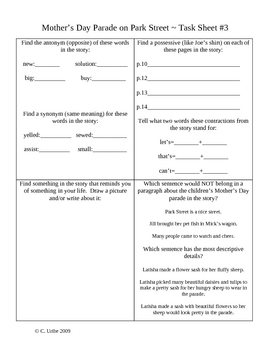 Mother's Day Parade on Park Street Activity Sheets ~ Phoni