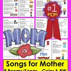 Mother&#039;s Day Poems/Songs-Color &amp; B/W - Shared Reading and Fluency