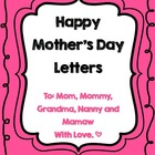 Mother's Day Questionnaire and Letters
