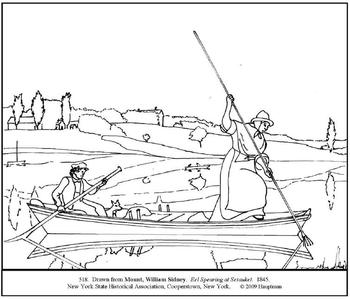 Mount. Eel Spearing at Setauket. Coloring page and lesson