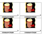 Movie Popcorn Homework Folder Labels- Hollywood theme