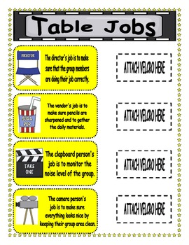 Movie Themed Classroom Table Jobs