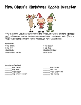 Mrs. Claus Christmas Cookie Disaster Writing/Math Activity