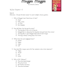 Muggie Maggie: Chapters 1-3 Quiz (freebie)