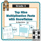 Multi-Match Cards 3A: Top 9 Multiplication Facts with Snowflakes