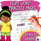 Multi-Sensory Sight Word Practice Pages - Complete Dolch List