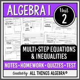Multi-Step Equations & Inequalities - Notes, Homework, Qui