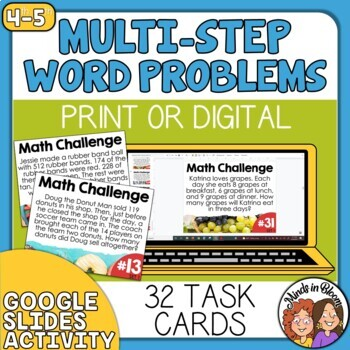 Multi-Step Math Word Problem Task Cards for Grades 3 and 4, CCSS Aligned