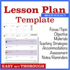 Template for Easy Thorough Lesson Planning - Multi-Subject