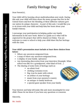 Multicultural Week: Family Heritage Day Letter to Parents
