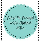 Multiple Meaning Word Sentence Sort
