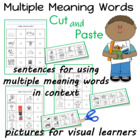 Multiple Meaning Words Cut and Paste