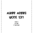 Multiple Meaning Words Sort