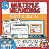 Multiple Meaning Words Task Cards Set 1: 32 Multiple Choic