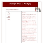 Multiple Ways of Multiplication Lesson Plan Activity Common Core