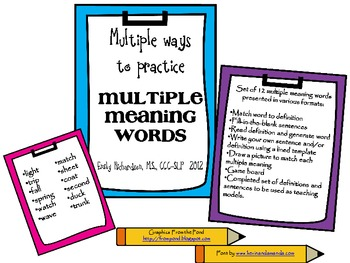 Multiple ways to practice Multiple Meaning Words