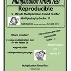 Multiplication 5-Minute Timed Test - Multiplying with 11 a
