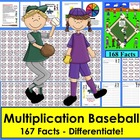 Multiplication Baseball Activities Math Centers- 4 Ways to Play