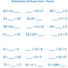 Multiplication & Division Facts Flash Cards 0-9, 0-12, & 1