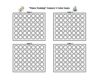 Multiplication Facts Connect Four Partner Color Game
