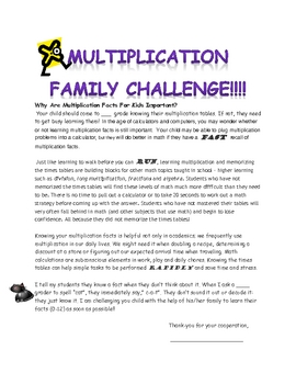 Multiplication Family Challenge --Why facts are important!