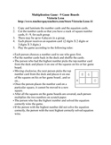 Multiplication Game - 9 Game Boards