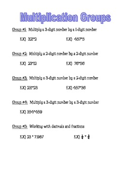 Multiplication Group Worksheets
