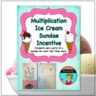 Multiplication Facts Ice Cream Party Ticket