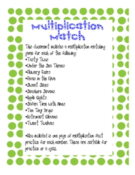 Multiplication Match Activities & Printables