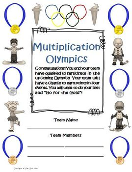 Multiplication Math Olympics Game Activities Common Core