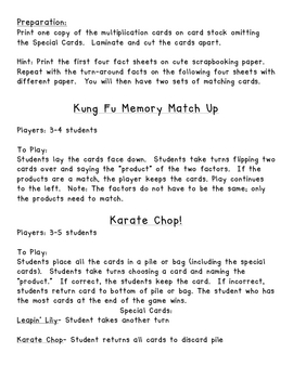Multiplication Memory and Karate Chop