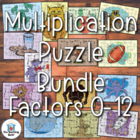 Multiplication Puzzle Pack~ 14 Puzzles for Factors 0-12 Co