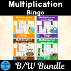 Multiplication Reverse Bingo Bundle Games In Black and White