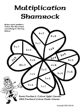 Multiplication Shamrock-Color By Number-St. Patricks