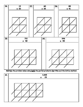 Multiplication Test - Partial-Products and Lattice Methods