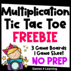 Multiplication Tic Tac Toe Freebie