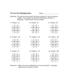 Multiplication Tic-Tac-Toe activity