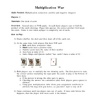 Multiplication War Card Game