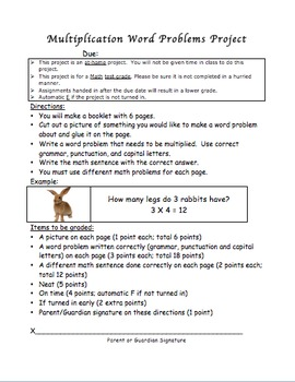 Multiplication Word Problem Project