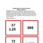 Multiplication of Large Numbers - Memory Game 1