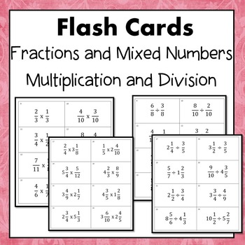 Multiply and Divide, Fractions and Mixed Numbers Card Set