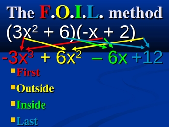 Multiplying Binomials - FOIL animated presentation