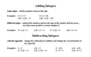 Multiplying & Dividing Integer Notes
