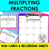 Multiplying Fractions Task Cards and Recording Sheets, CCS