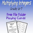 Multiplying Integers FREE file folder playing cards