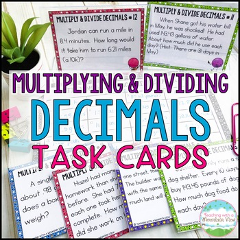 Multiplying and Dividing Decimals Task Cards Word Problems for Common Core