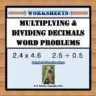 Multiplying and Dividing Decimals Worksheets (Word Problem