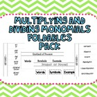 Multiplying and Dividing Monomials Foldables Pack